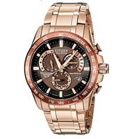 CITIZEN AT410652X Mens Rose Gold-Tone Eco-Drive Perpetual Chrono Stainless Steel Watch - AT4106-52X / AT410652X - IN STOCK