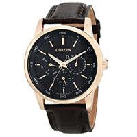 CITIZEN BU201308E Mens Eco-Drive Gold-Tone Stainless Steel and Leather Watch - BU2013-08E / BU201308E - IN STOCK