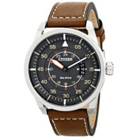 CITIZEN AW136110H Mens Sport Eco-Drive Stainless Steel Watch w/ Leather Band - AW1361-10H / AW136110H - IN STOCK