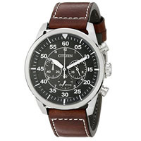 CITIZEN CA421024E Mens Eco-Drive Stainless Steel and Leather Watch - CA4210-24E / CA421024E - IN STOCK