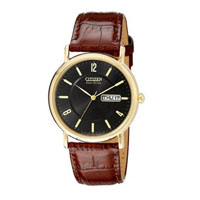 CITIZEN BM824208E Mens Eco-Drive Gold-Tone Stainless Steel and Leather Watch - BM8242-08E / BM824208E - IN STOCK