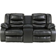 Ashley Signature Design Linebacker Black DuraBlend Double Reclining Console Loveseat - 9520294 - IN STOCK