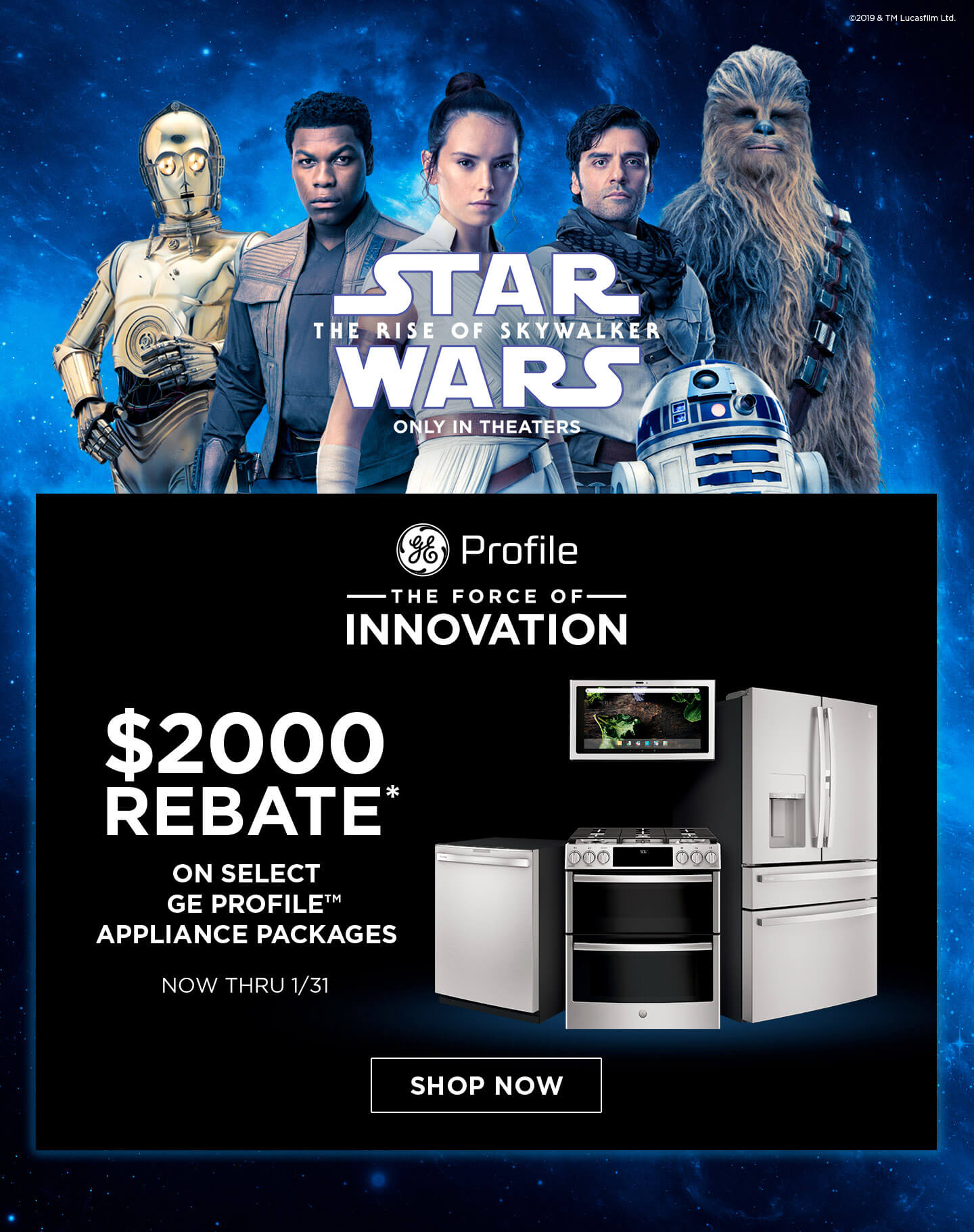 GE Profile the Force of Innovation $2000 Rebate Offer.