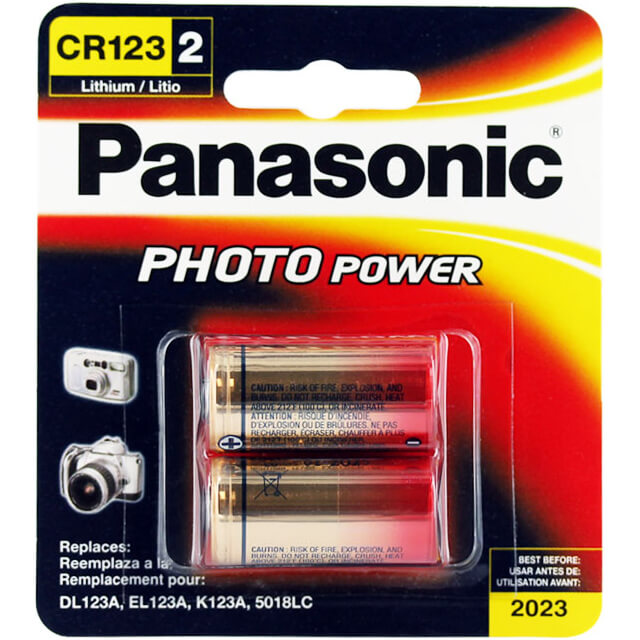 Photo Power CR123 Lithium Batteries - 2 Pack