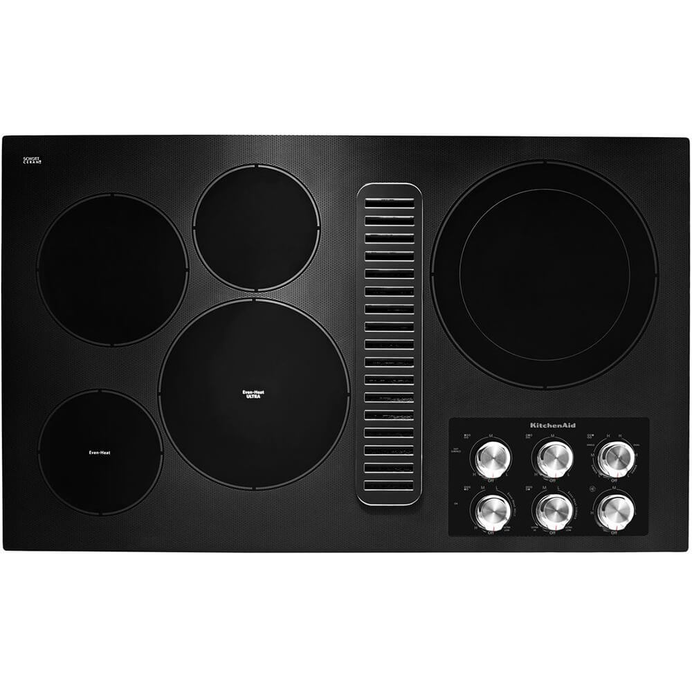 36 inch Black 5 Burner Electric Downdraft Cooktop