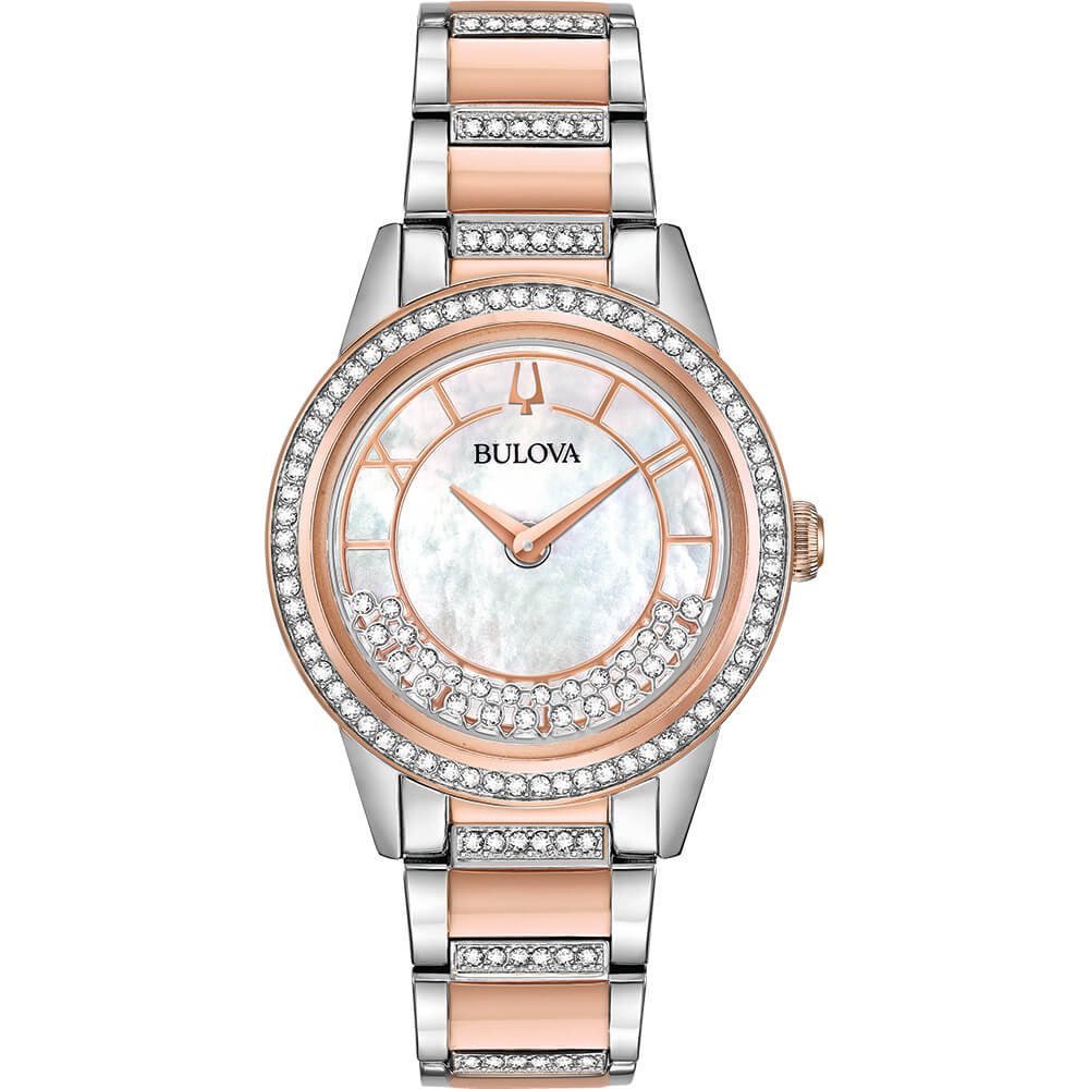 Womens Rose Gold Crystal TurnStyle Watch