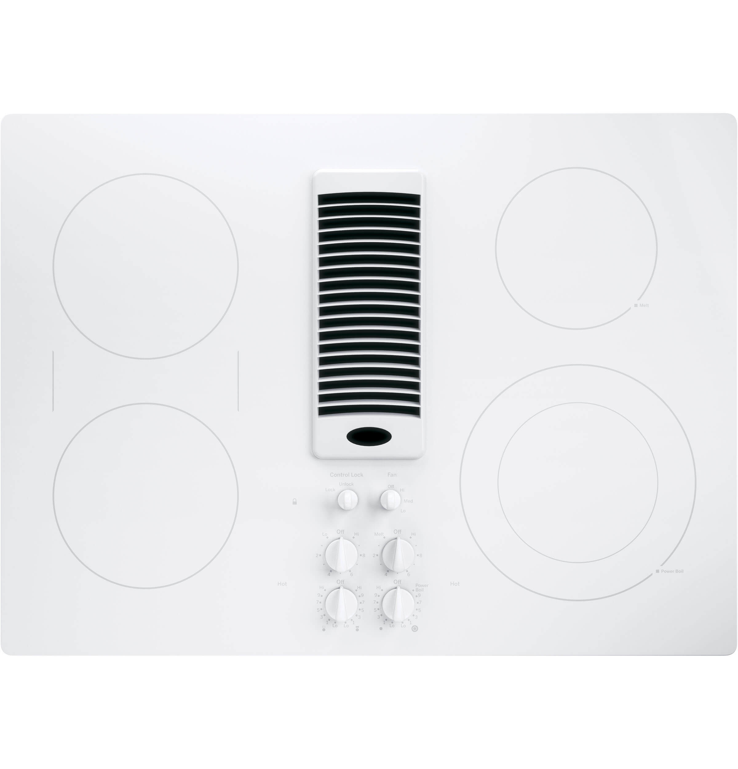 White Profile Series 30 inch Downdraft Electric Cooktop