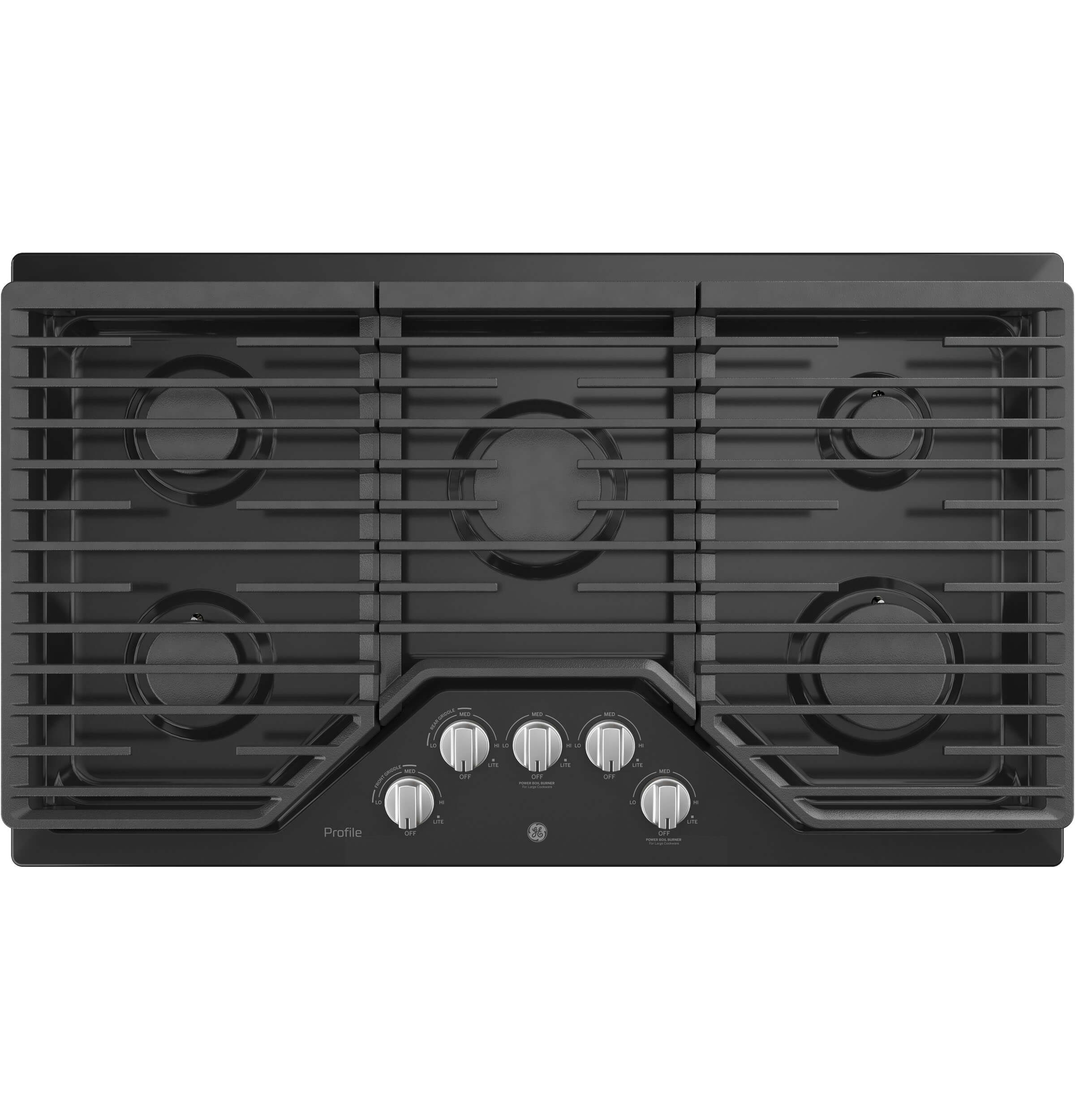 Profile 36 inch Black 5 Burner Gas Cooktop