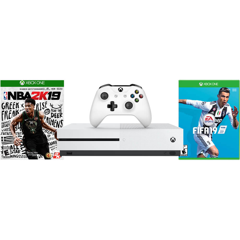 Xbox One S Console with NBA 2K19 + FIFA 19
