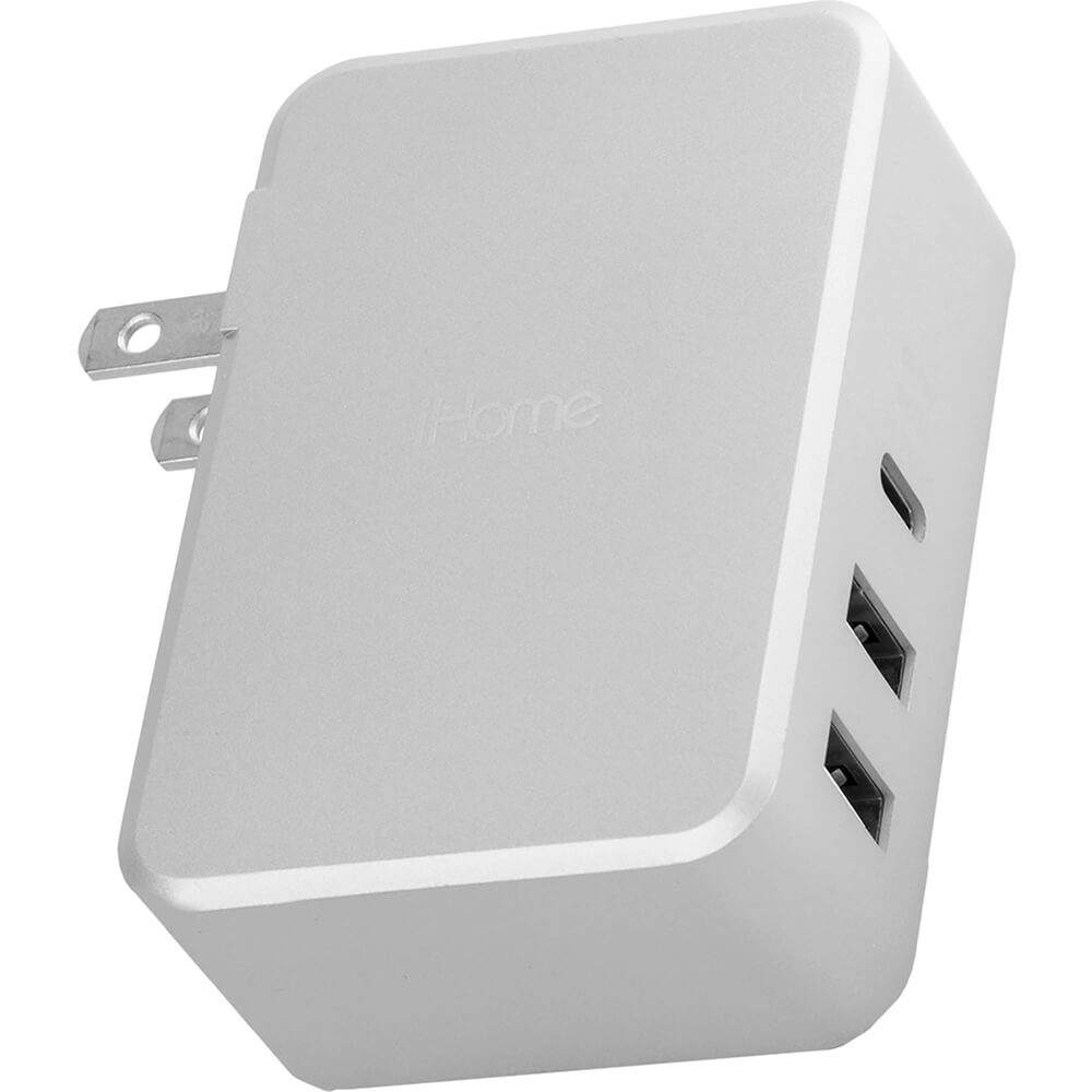 USB-C Portable Wall Charger - Silver