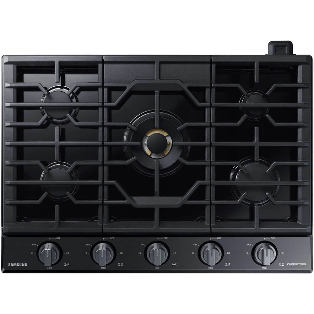 Chef Collection 36 inch Matte Black Stainless 5 Burner Gas Cooktop
