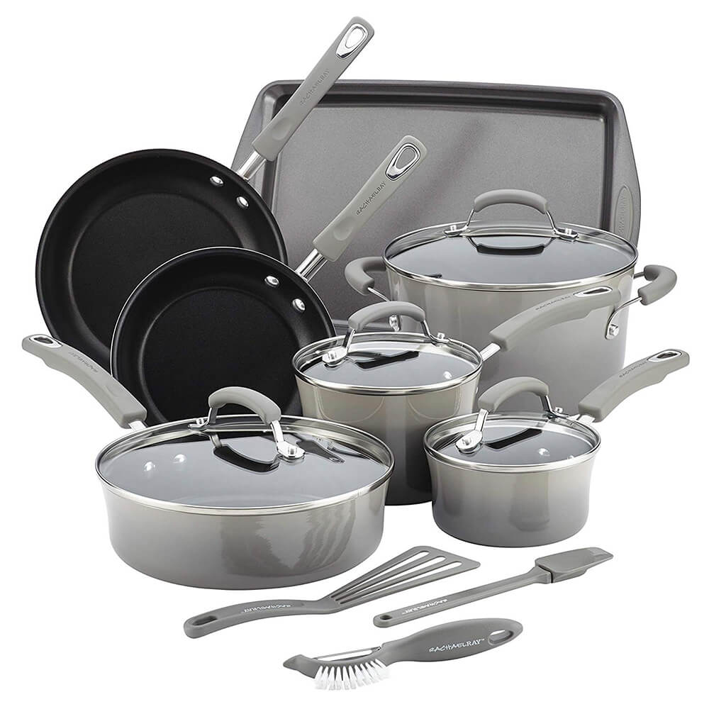 Classic Brights Nonstick Cookware Set, 14 pc. - Gray