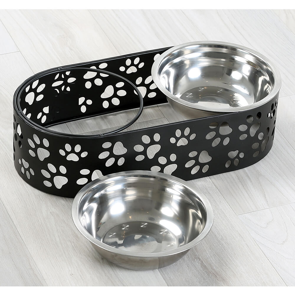 Paw-Cutout Raised Double-Feeder Set