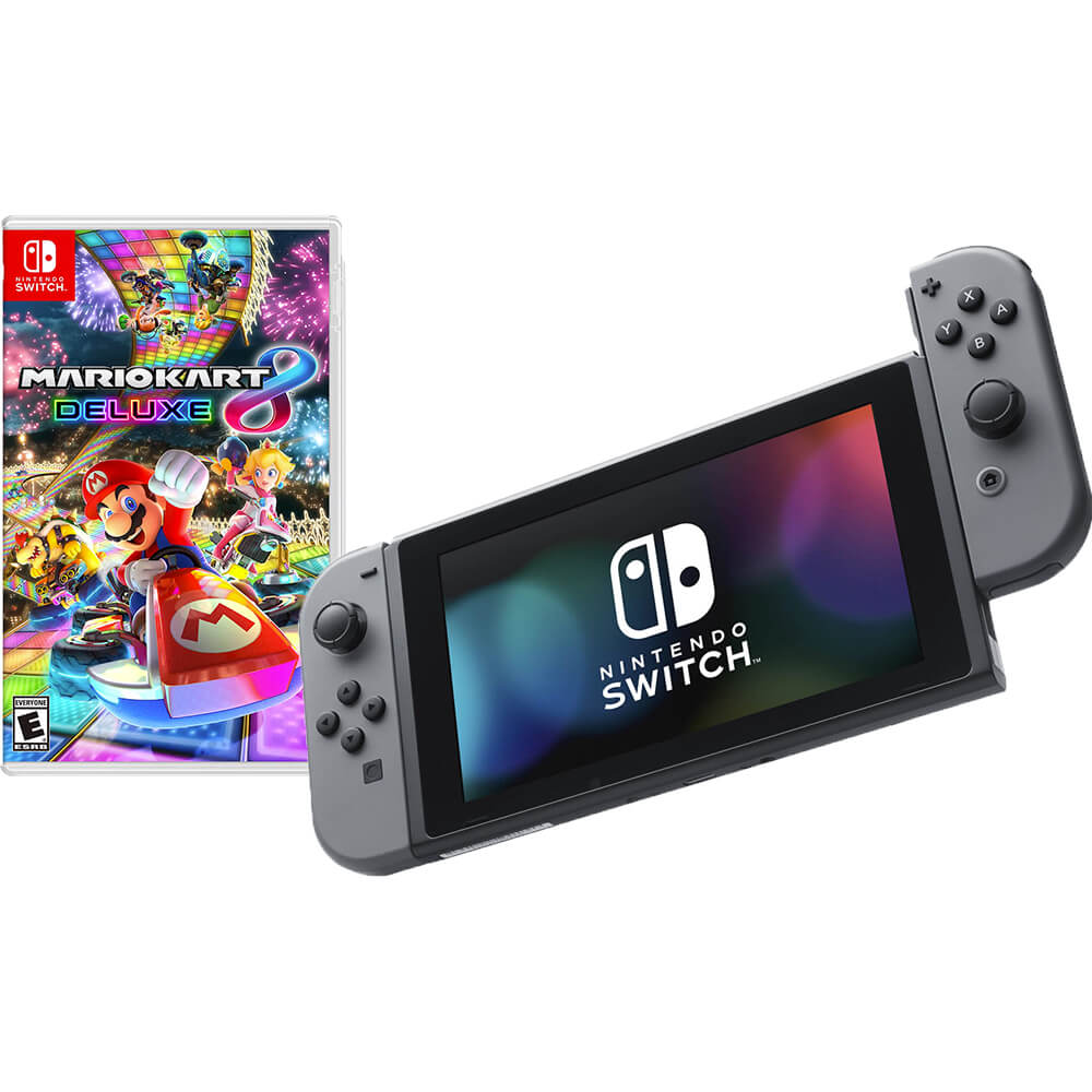 Switch with Gray Controllers - Mario Kart 8 Deluxe