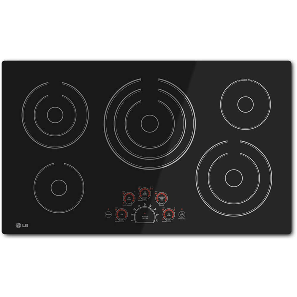 36 inch 5 Burner Black Electric Cooktop