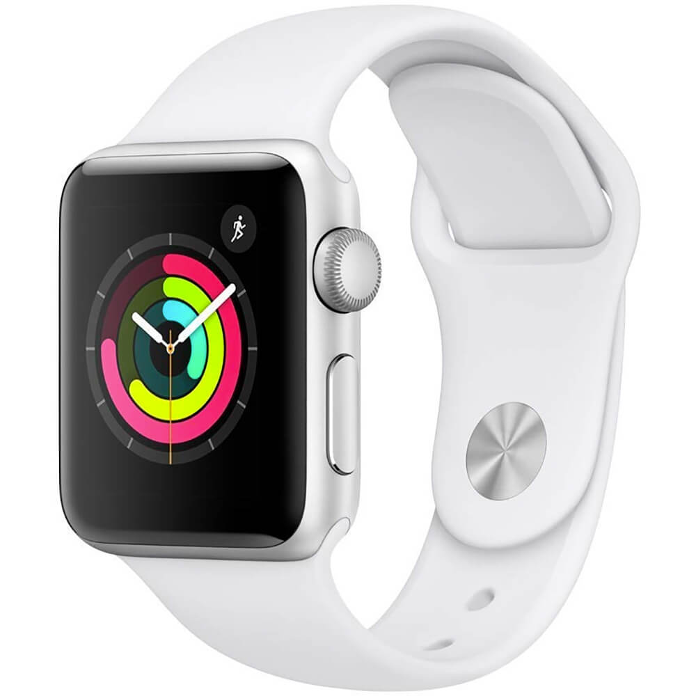 Watch Silver Aluminum Case with White Sport Band - Silver