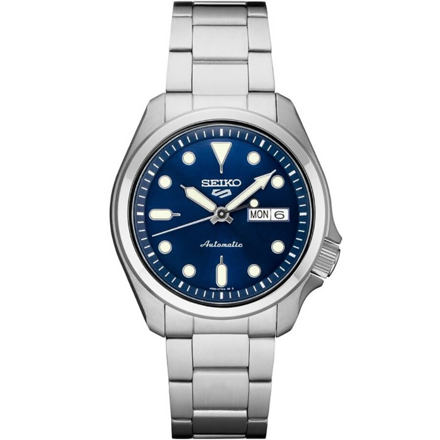 5 Sports 24-Jewel Stainless Steel Watch with Blue Dial