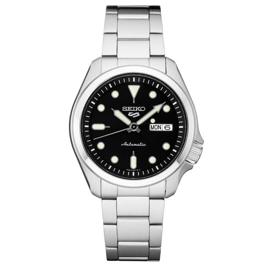 5 Sports 24-Jewel Stainless Steel Watch with Black Dial and White Accents