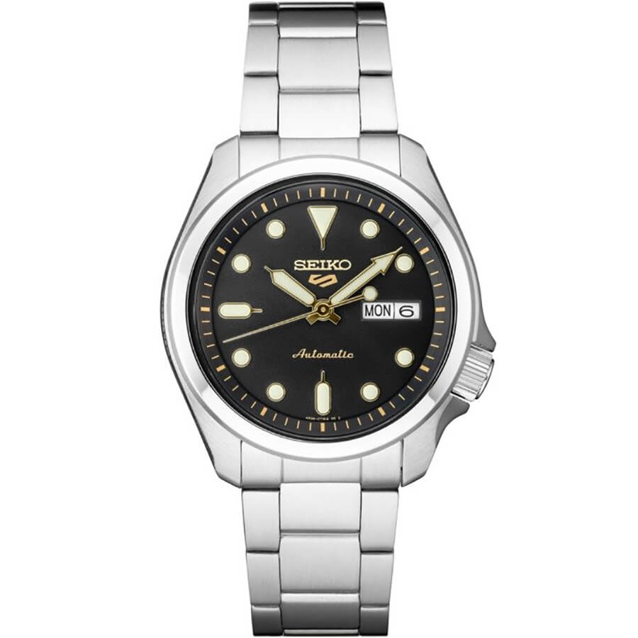 5 Sports 24-Jewel Stainless Steel Watch with Black Dial