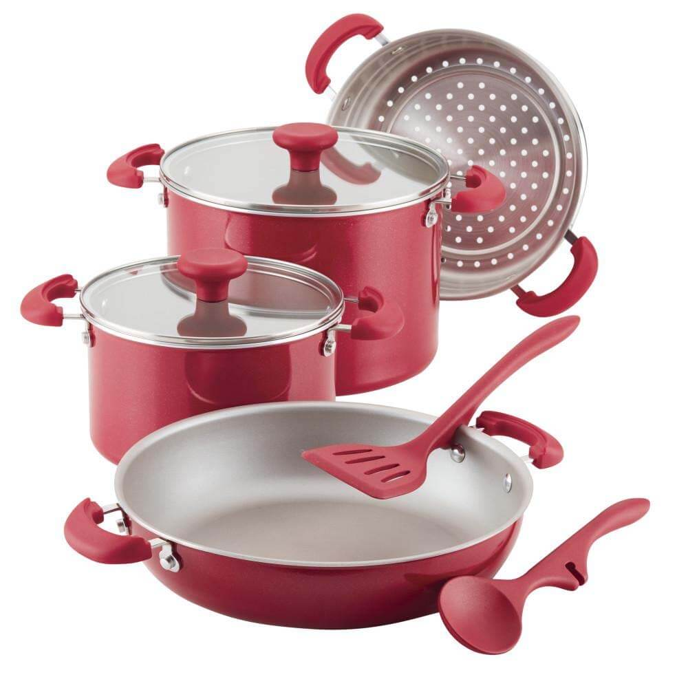8 Piece Aluminum Non Stick Cookware Set - Red