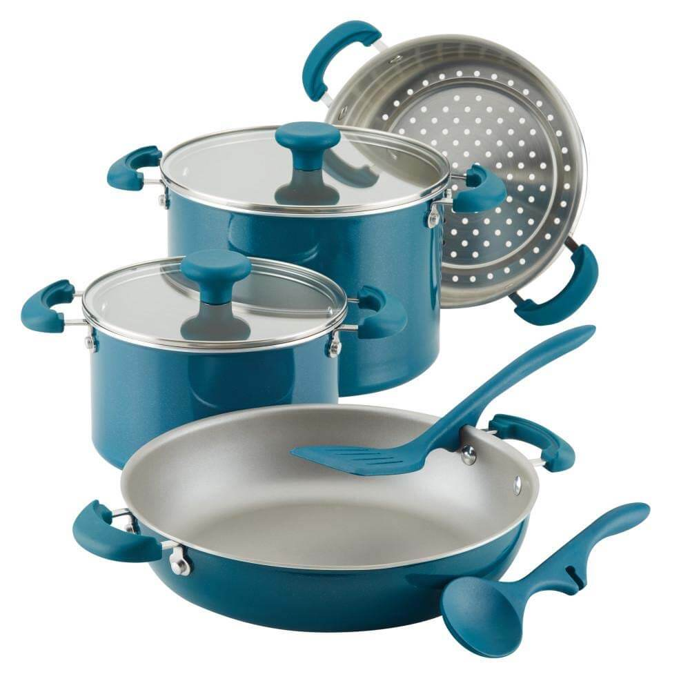 8 Piece Aluminum Non Stick Cookware Set - Teal