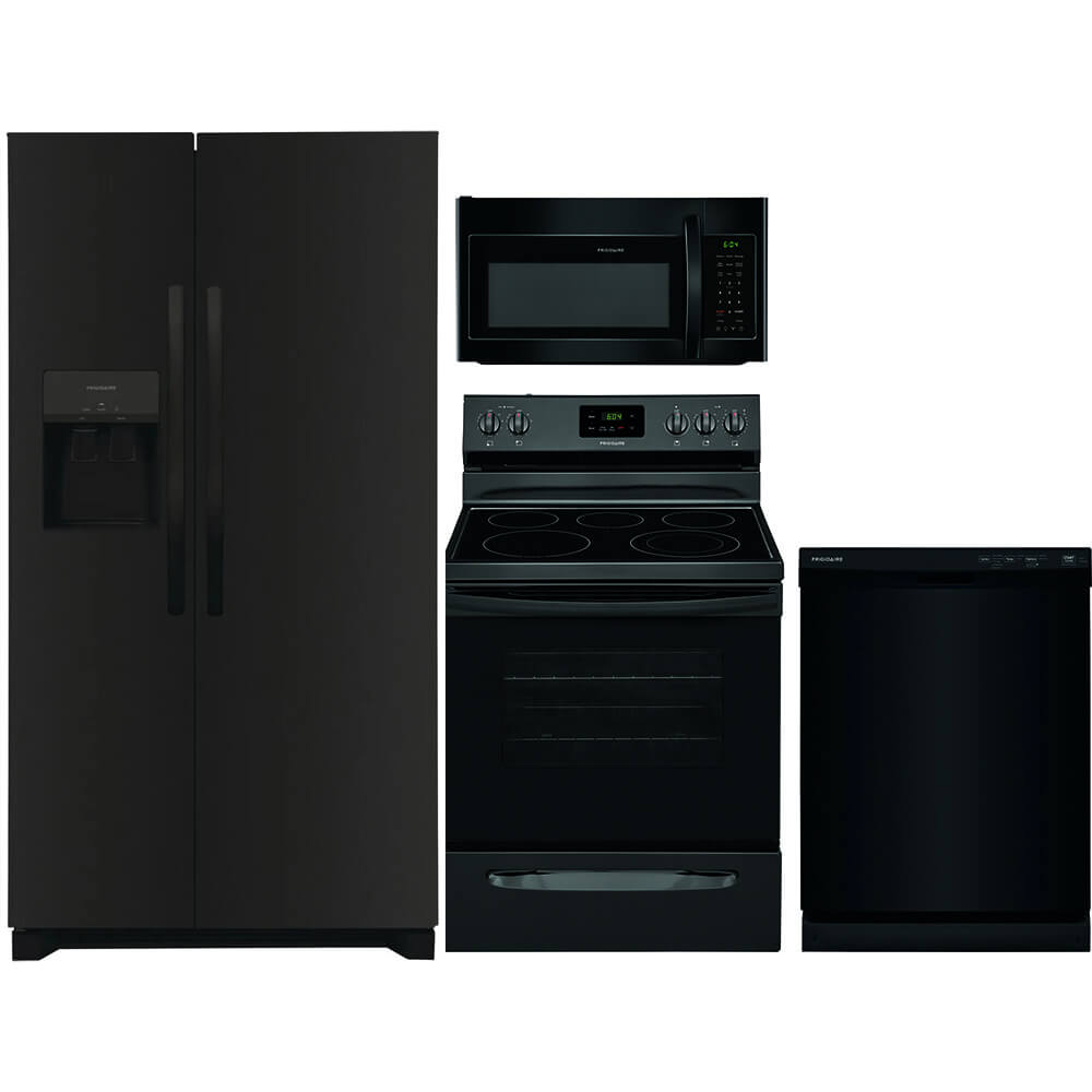 4 Pc. Black Side-by-side Kitchen Package