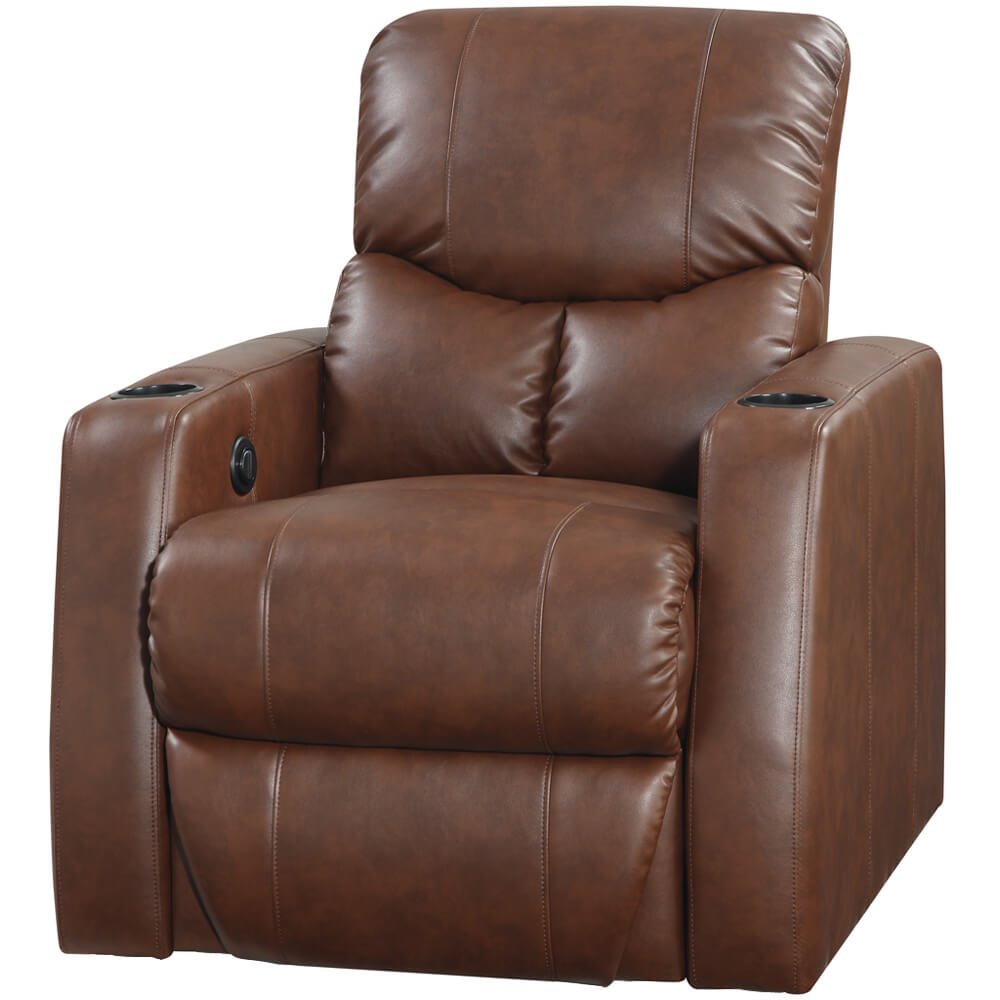 Plaza Brown Bonded Leather 2 Arm Power Recliner