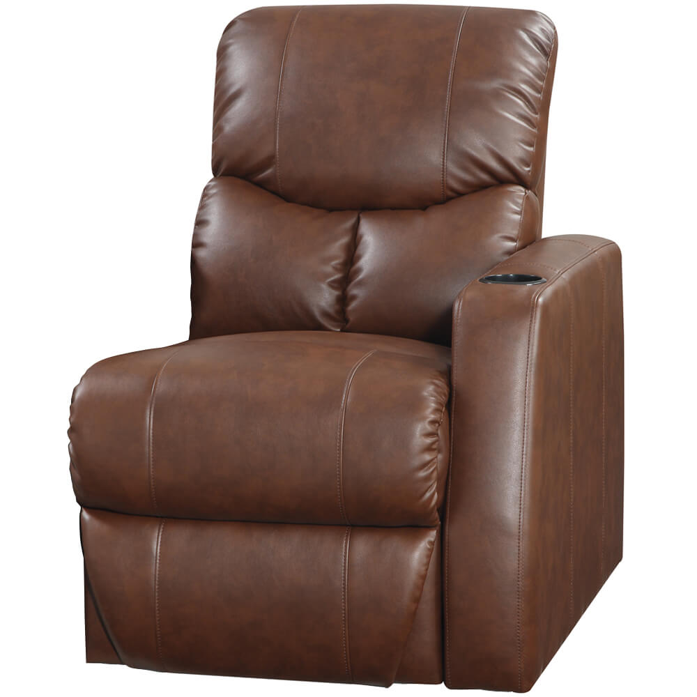 Plaza Brown Bonded Leather RAF 1 Arm Power Recliner