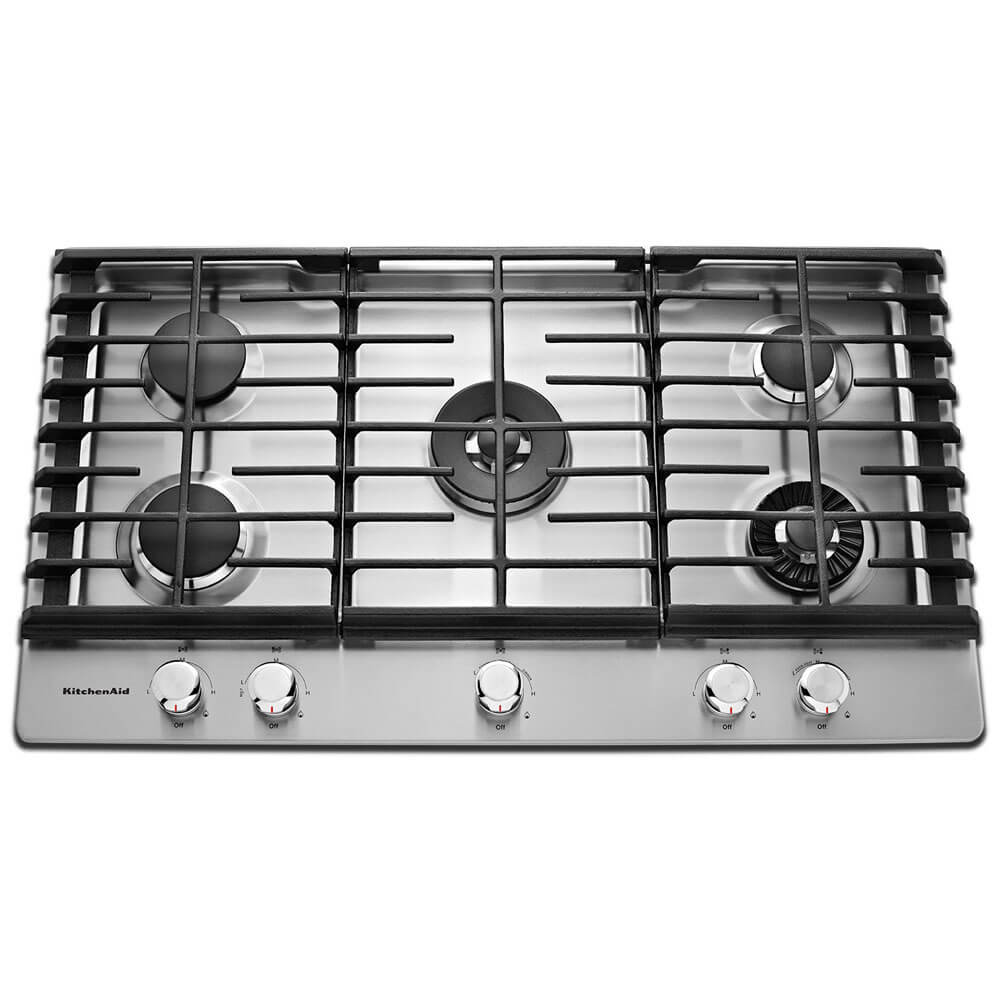 36 inch Stainless 5 Burner Gas Cooktop with Griddle