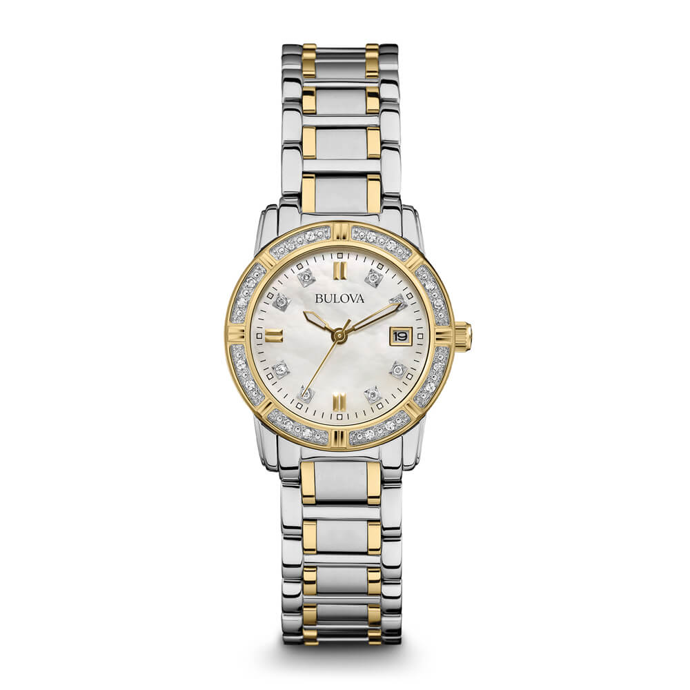 Womens Silver & Gold Diamond Watch
