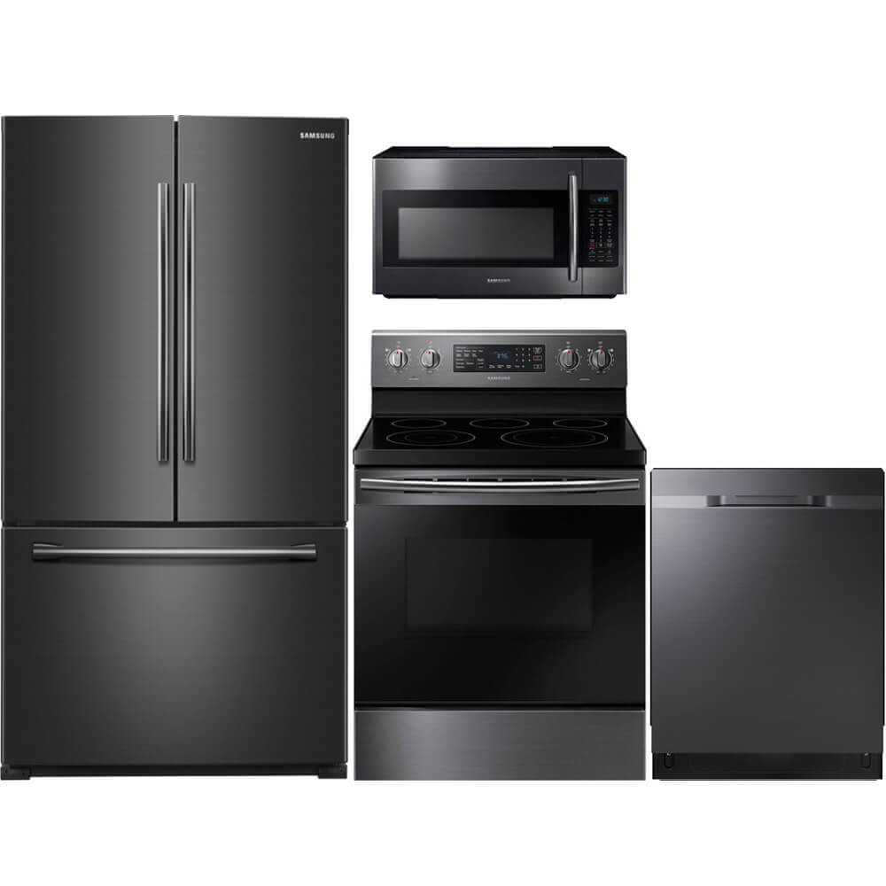 4 Pc. Black Stainless French Door Kitchen Package
