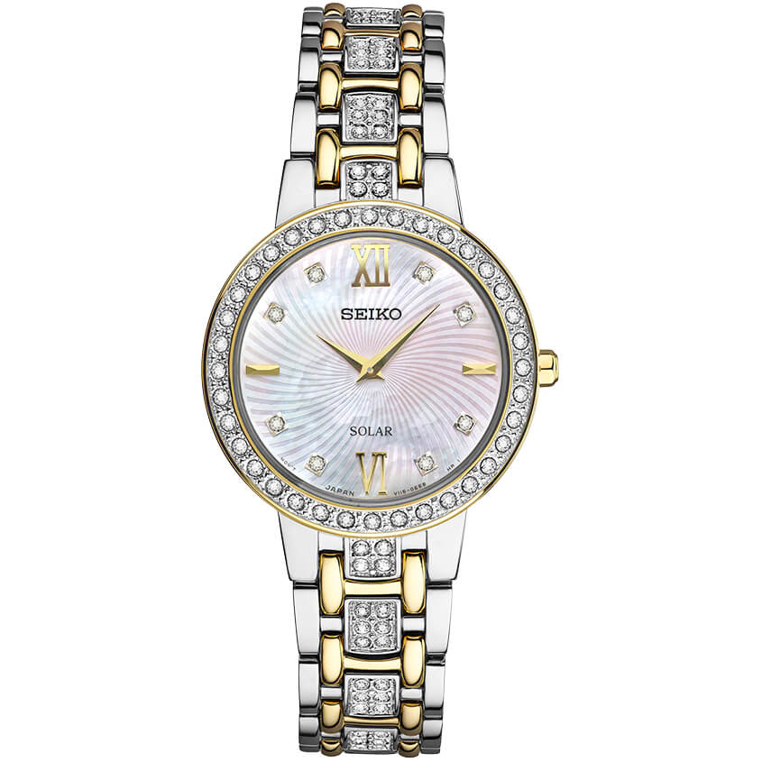 Womens Silver & Gold Crystal Collection Solar Watch