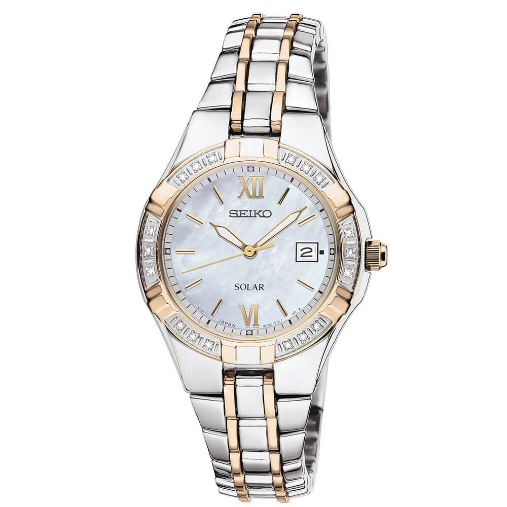 Womens Silver & Gold Core Solar Watch