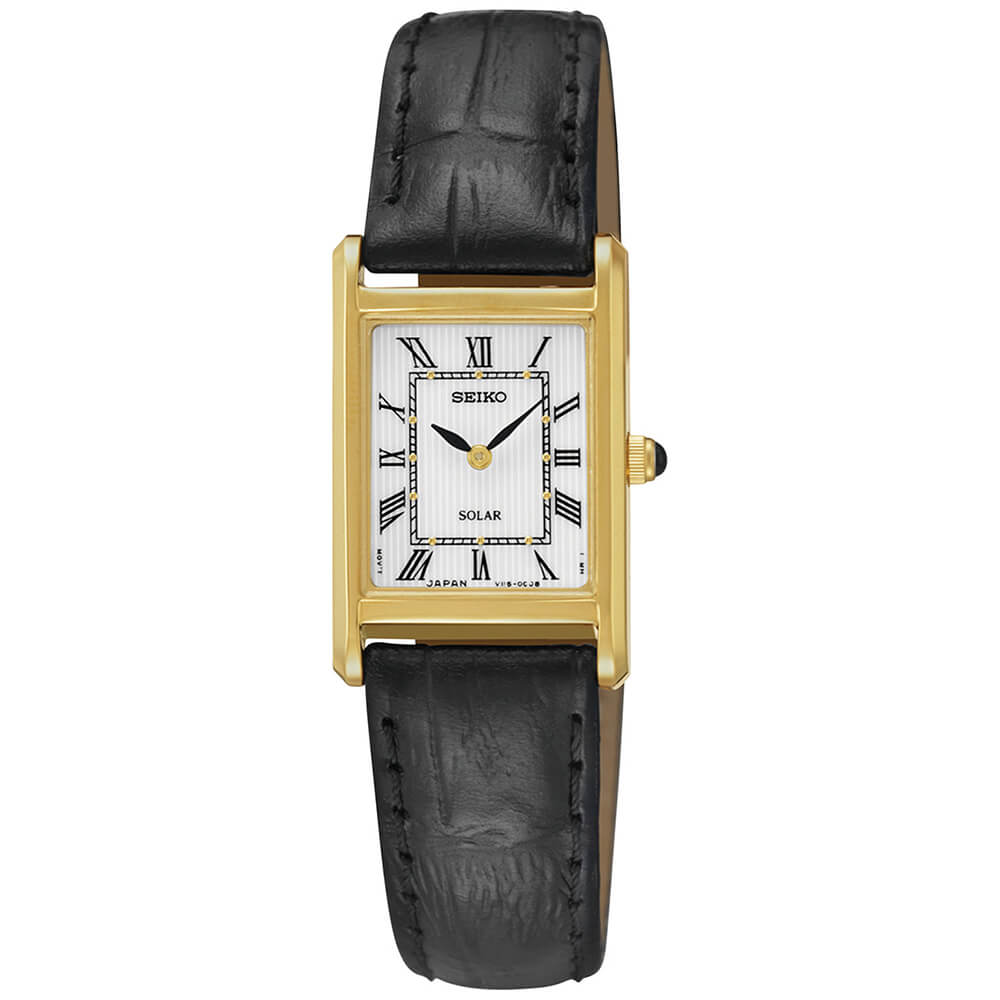 Womens Gold Core Solar Watch with Leather Strap