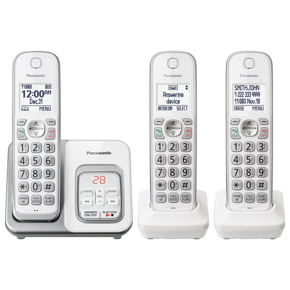 Expandable Cordless Phone with Answering Machine - 3 Handsets
