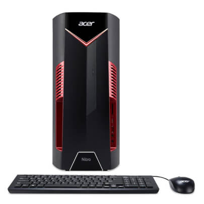 Front view of the Acer Nitro 50 gaming desktop specd with the Intel I5 CPU, AMD Radeon RX 580, 8GBs of RAM, 1TB of HDD storage, and Windows 10- N50600UR12