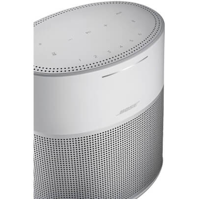 Angled close-up view of the silver Bose Home Speaker 300 with built-in voice assistants- HOMESPK300SL