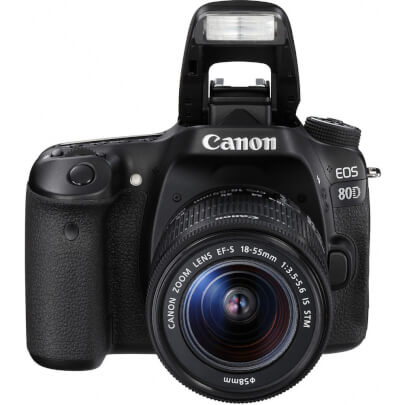 Front view with extended flash on the Canon EOS 80D DSLR with 18 - 55 millimeter lens- EOD80DKIT