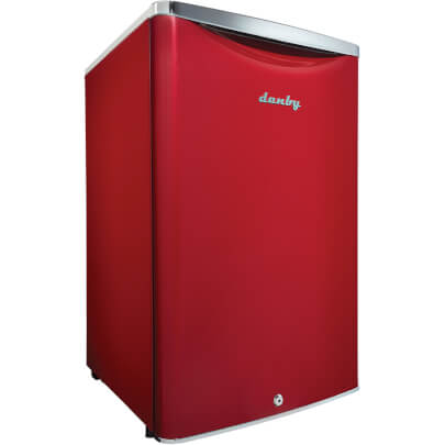 Corner view of 4.4 Cu.Ft. Red Compact Refrigerator