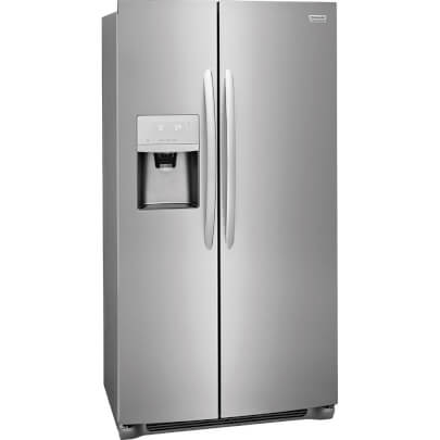 Corner view of Frigidaire FGSS2635TF 26 cu.ft. Side by Side Refrigerator