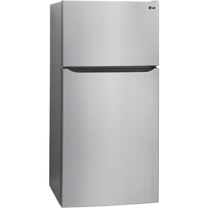 Corner view of 24 cu.ft. Stainless 33� Wide Top Mount Fridge w/Ice