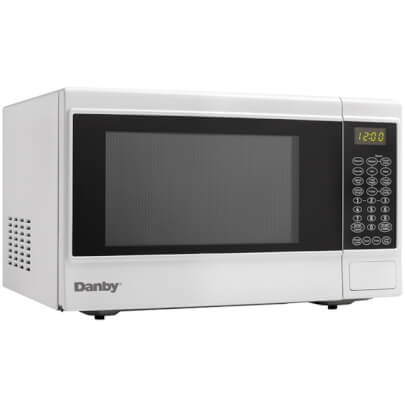 Angled front view of the 1.4 cubic foot white Danby 1100 watt counter top microwave- DMW14SA1WDB