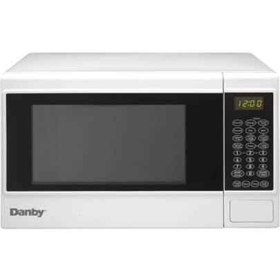 Front view of the 1.4 cubic foot white Danby 1100 watt counter top microwave- DMW14SA1WDB