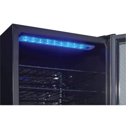Interior lighting view of the Danby wine cooler- DWC036A1BSSD