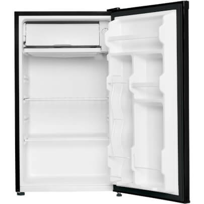Front view with doors open of the 3.2 cubic foot black Danby compact refrigerator- DCR032C1BDB