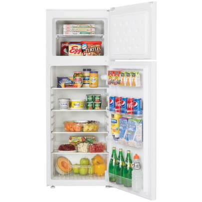 Front view with open door, stocked with food, of the 7.3 cubic foot white Danby top freezer refrigerator- DPF073C2WDB