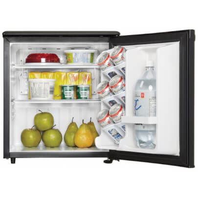 Front view with door open, stocked with food, of the 1.7 cubic foot black Danby compact refrigerator- DAR017A2BDD