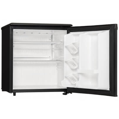 Angled front view with door open of the 1.7 cubic foot black Danby compact refrigerator- DAR017A2BDD