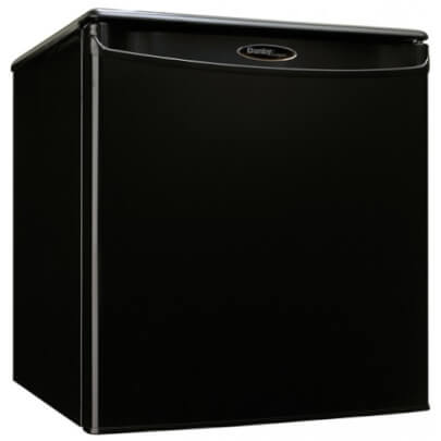 Angled front view of the 1.7 cubic foot black Danby compact refrigerator- DAR017A2BDD