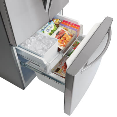 Angled view of freezer in LG LFDS22520S 22 cu.ft. French Door Refrigerator
